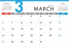 March Calendar 2016