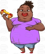 Heavyset African-American Woman Eating A Hot Dog While Holding Her Belly